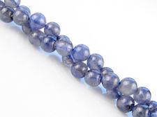 Image de 6x6 mm, perles rondes, pierres gemmes, cordiérite ou iolite, bleu indigo, naturel