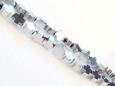 Afbeelding van 4x4 mm, Grieks kruis, edelsteen kralen, hematiet, rhodium gemetalliseerd
