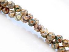 Image de 6x6 mm, perles rondes, pierres gemmes, agate, style tibétain, blanc vert avec brun kaki et brun blé