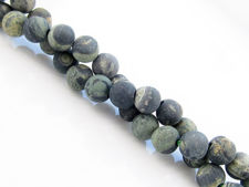 Picture of 6x6 mm, round, gemstone beads, crocodile or Kambamba jasper, natural, frosted
