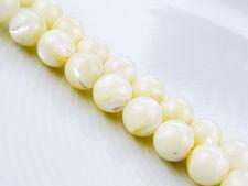 Image de 8x8 mm, perles rondes, pierres gemmes organiques, perles de coquillage de mer, blanches