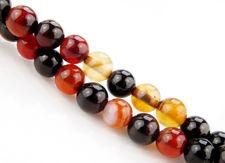 Image de 6x6 mm, perles rondes, pierres gemmes, agate naturelle, brun rouge et noir