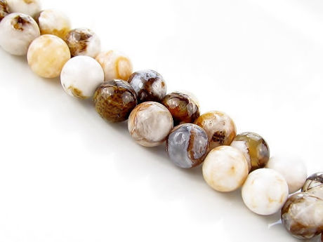 Picture of 8x8 mm, round, gemstone beads, new petrified wood, beige-brown, natural