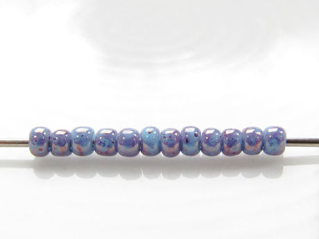 Picture of Japanese seed beads, Toho, size 11/0, opaque light blue, amethyst marbled