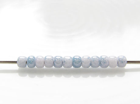 Picture of Japanese seed beads, Toho, size 11/0, opaque white, blue marbled