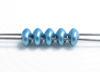 Image de 5x2.5 mm, perles SuperDuo, de verre tchèque, 2 trous, opaque, satin métallique, bleu arctique