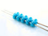 Picture of 5x2.5 mm, SuperDuo beads, Czech glass, 2 holes, opaque, deep turquoise blue luster