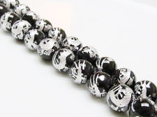 Picture of 10x10 mm, round, gemstone beads, onyx, black, carved silver dragon