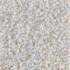 Picture of Japanese seed beads, Miyuki, size 15/0, opal white color, gilt-lined