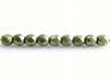 Image de 2x2 mm, perles à facettes tchèques rondes, vert fougère, opaque, or suédé