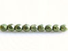 Picture of 2x2 mm, Czech faceted round beads, fern green, opaque, sueded gold