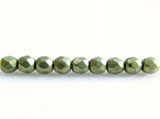 Picture of 3x3 mm, Czech faceted round beads, fern green, opaque, sueded gold