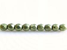 Afbeelding van 3x3 mm, Tsjechische ronde facetkralen, varen groen, ondoorzichtig, suede goud