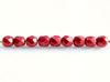 Image de 3x3 mm, perles à facettes tchèques rondes, rouge samba, opaque, or suédé