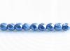 Afbeelding van 2x2 mm, Tsjechische ronde facetkralen, Provence blauw, ondoorzichtig, suede goud