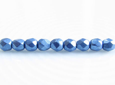 Picture of 3x3 mm, Czech faceted round beads, Provence blue, opaque, sueded gold