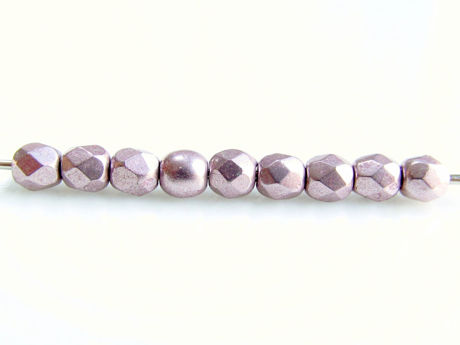 Picture of 2x2 mm, Czech faceted round beads, blackened pearl or silvery purple, opaque, sueded gold