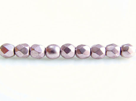 Picture of 3x3 mm, Czech faceted round beads, blackened pearl or silvery purple, opaque, sueded gold