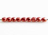 Picture of 2x2 mm, Czech faceted round beads, lantana or medium light red, opaque, sueded gold