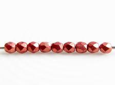Afbeelding van 2x2 mm, Tsjechische ronde facetkralen, lantana of medium licht rood, ondoorzichtig, suede goud