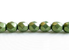 Picture of 6x6 mm, Czech faceted round beads, fern green, opaque, sueded gold
