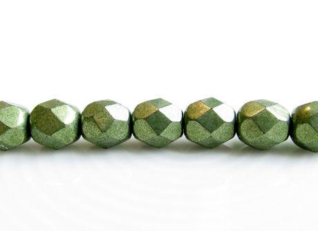 Image de 6x6 mm, perles à facettes tchèques rondes, vert fougère, opaque, or suédé