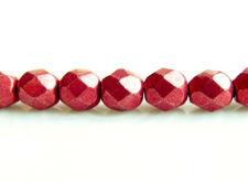 Image de 6x6 mm, perles à facettes tchèques rondes, rouge samba, opaque, or suédé