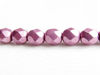 Picture of 6x6 mm, Czech faceted round beads, orchid or pearly purple, opaque, sueded gold