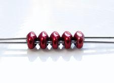 Afbeelding van 5x2.5 mm, SuperDuo kralen, Tsjechisch glas, 2 gaatjes, verzadigd metaalkleur, merlot rood
