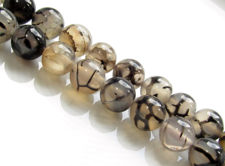Picture of 10x10 mm, round, gemstone beads, crackle agate, taupe-grey