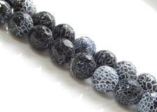 Image de 10x10 mm, perles rondes, pierres gemmes, agate craquelée, noire, à facettes