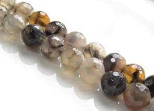 Image de 10x10 mm, perles rondes, pierres gemmes, agate craquelée, gris taupe, à facettes