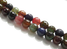 Picture of 10x10 mm, round, gemstone beads, crackle agate, multicolored, muted shades, faceted