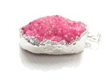 Afbeelding van 30x31 mm, edelsteen, hangertje, drusy agaat, roze, zilverwitte rand