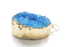 Afbeelding van 23x36 mm, edelsteen, hangertje, drusy agaat, hemelsblauw, goudkleurige rand