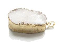 Afbeelding van 32x42 mm, edelsteen, hangertje, drusy agaat, wit, goudkleurige rand