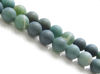 Picture of 8x8 mm, round, gemstone beads, moss agate, green, natural, frosted