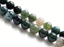 Picture of 10x10 mm, round, gemstone beads, moss agate, green, natural