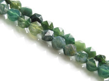 Picture of 5x6 mm, round English cut, gemstone beads, moss agate, green, natural, faceted